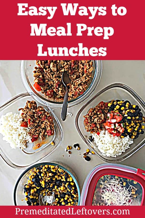Meal prep lunch idea: turkey taco rice bowls with corn and black beans.