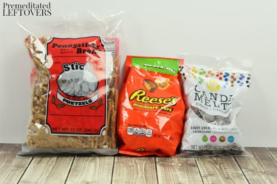 Ingredients for witch's broom Halloween treats