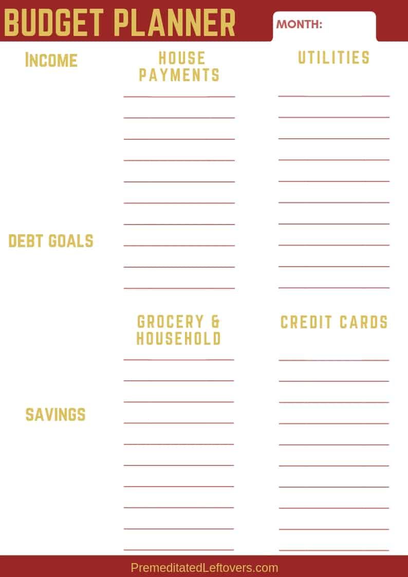 Printable Budget Planner Worksheet