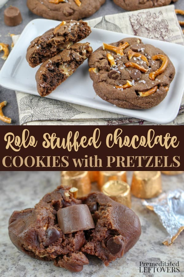 Rolo Stuffed Chocolate Cookies Recipe with Pretzels
