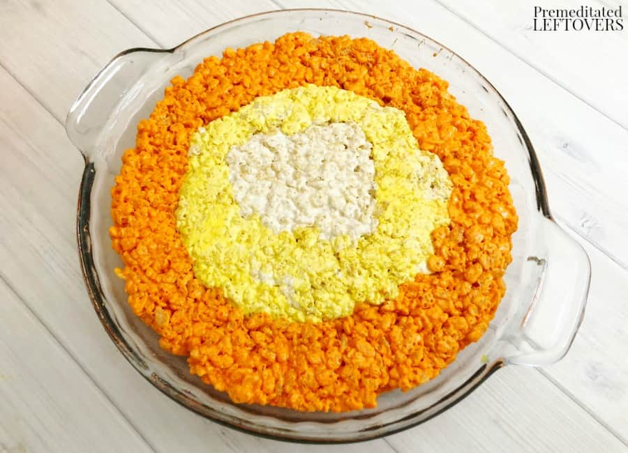 How to make orange layer of candy corn Rice Krispie treats