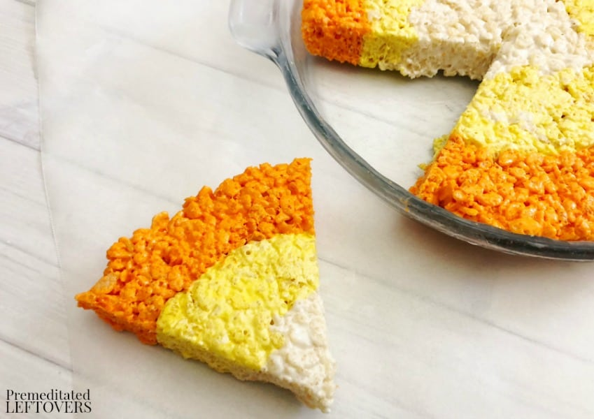 Slice candy corn Rice Krispie treats like a pizza