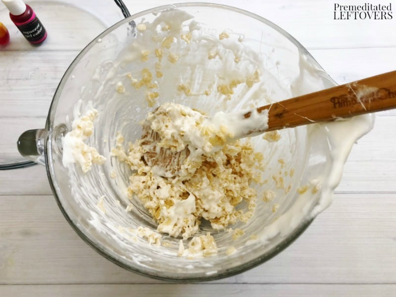 candy corn rice krispie treat mixture