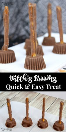 Looking for a unique Halloween treat? These witch's broom Halloween treats are easy to make and perfect for a Halloween party! With just three ingredients and next to no prep time, this is a great Halloween recipe to throw together at the last minute. Kids of all ages can help put together the brooms using pretzels and peanut butter cups..