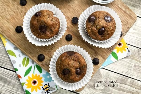 homemade zucchini chocolate chip muffins