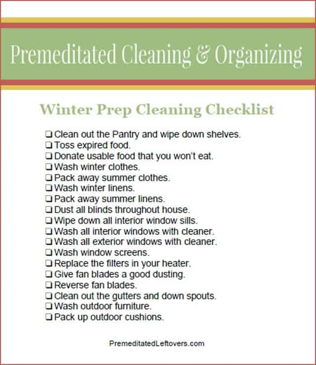 Printable Winter Cleaning Checklist
