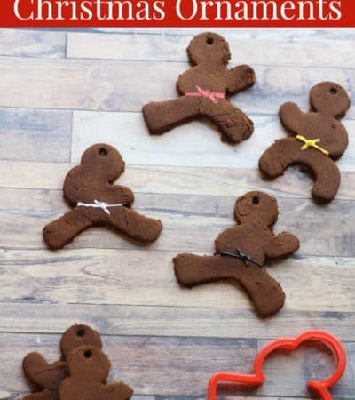 DIY ninjabread men ornament using cinnamon applesauce Christmas ornament recipe and ninja cookie cutters.