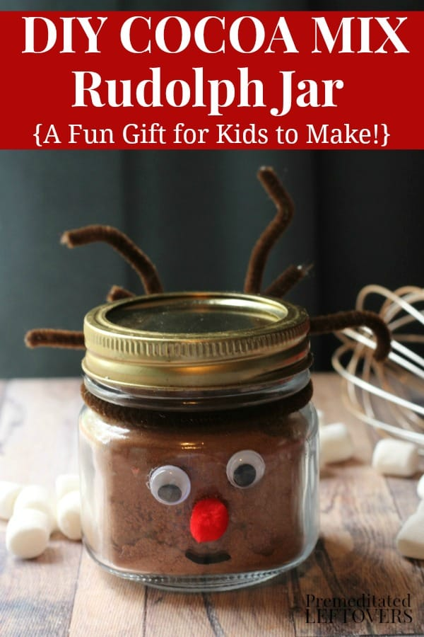 Diy cocoa mix reindeer jar - a fun gift for kids to make this Christmas.