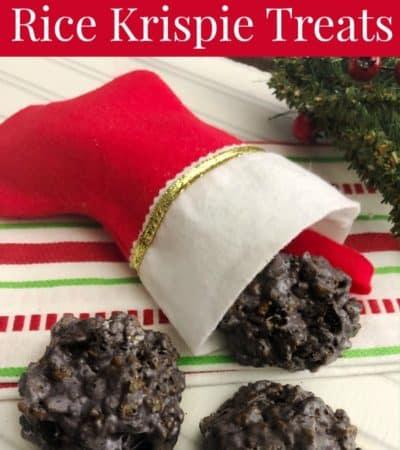 Double Chocolate Lump of Coal Rice Krispie Treats Recipe.