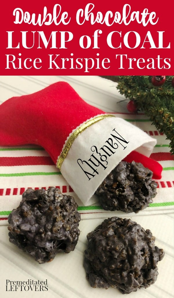 Double Chocolate Lump of Coal Rice Krispie Treats Recipe - Give this Christmas dessert to those on the naughty list in their stocking.