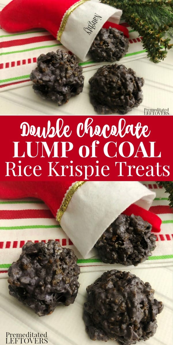 Double Chocolate Rice Krispie Treats are a fun Christmas dessert. Put them in a stocking for those on the naughty list.