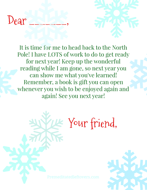 Elf on the Shelf Goodbye Letter Unsigned