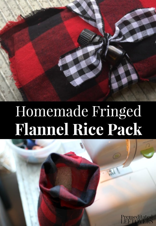 Homemade Fringed Flannel Rice Pack - An easy DIY Christmas gift idea.
