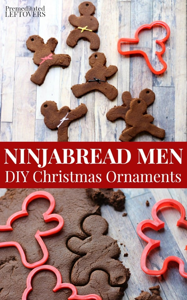 Homemade Ninjabread men Christmas Ornaments using cinnamon apple ornaments recipe and ninja cookie cutters.