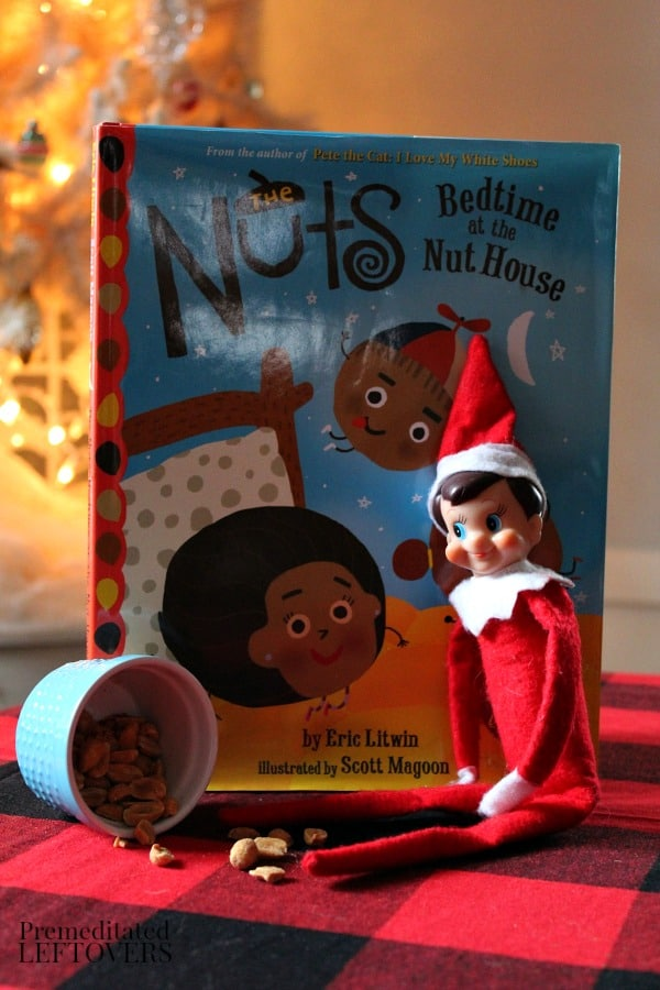 Nuts at Bedtime - Easy Elf on the Shelf idea using books