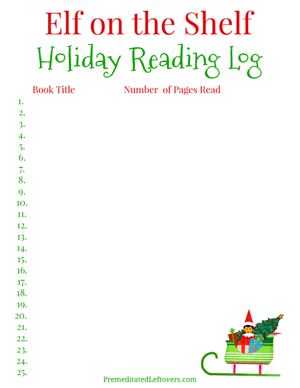 Printable Elf on the Shelf Holiday Reading Log