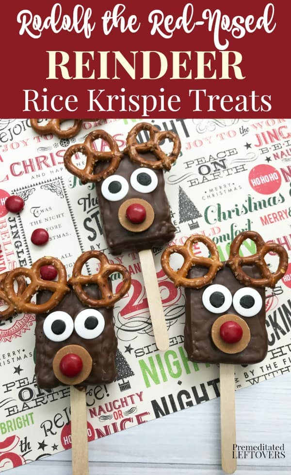 Quick and Easy Rudolph the Red-Nosed Reindeer Rice Krispie Treats Recipe for Christmas