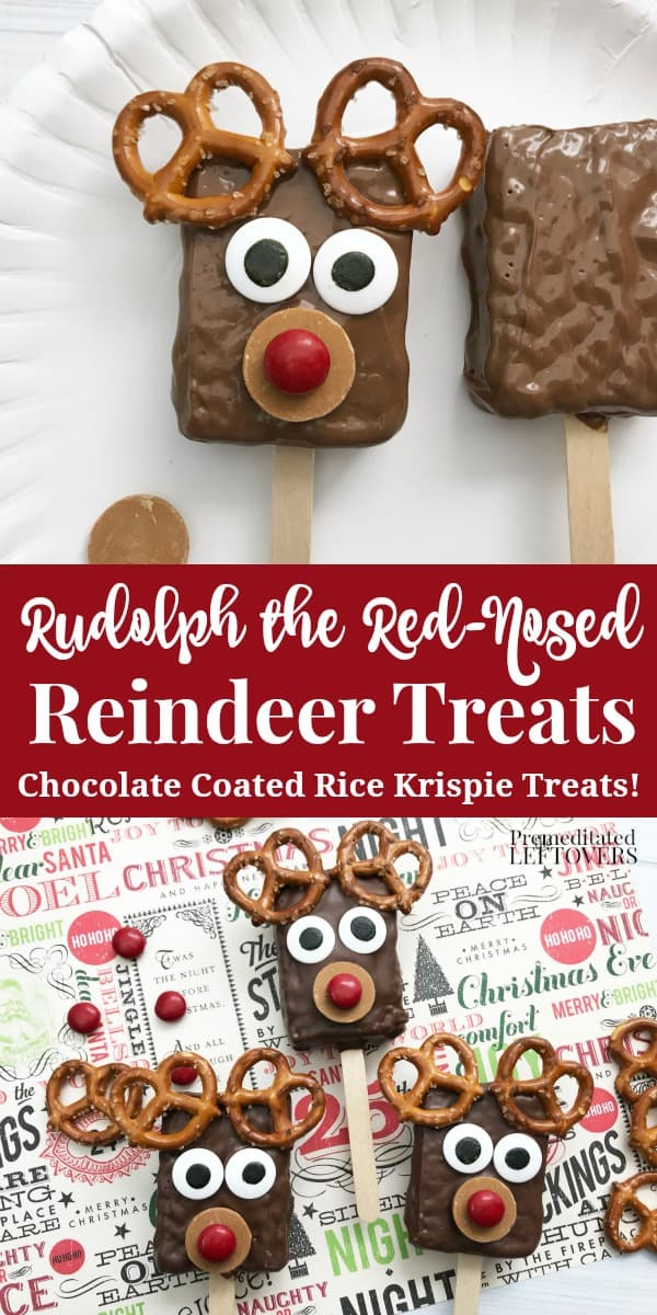 This Reindeer Rice Krispie Treats recipe is a fun & tasty Christmas dessert idea. Reindeer treats are quick and easy to make. Perfect for Christmas parties.
