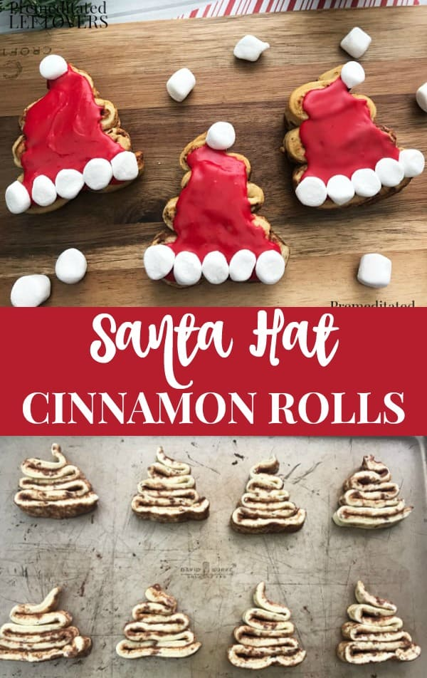 Santa Hat Cinnamon Rolls - Recipe and tips using refrigerated cinnamon roll dough. This is a quick and easy breakfast for Christmas morning!