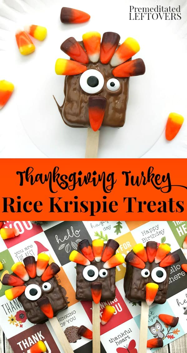 Thanksgiving Turkey Rice Krispie Treats Recipe - A fun Thanksgiving dessert for kids.