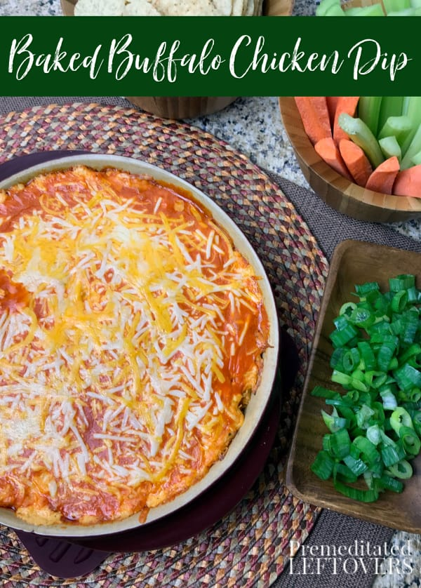 This easy Baked Buffalo Chicken Dip recipe is the perfect addition to any party! It also includes directions for making it in a slow cooker.