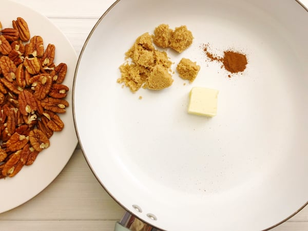 candied pecans in a pan