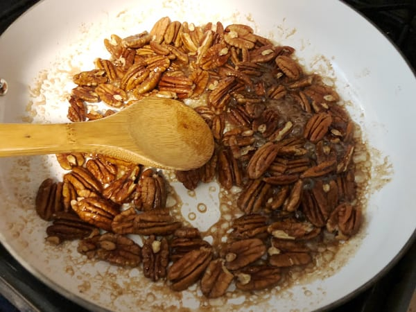 saute candied pecans in pan
