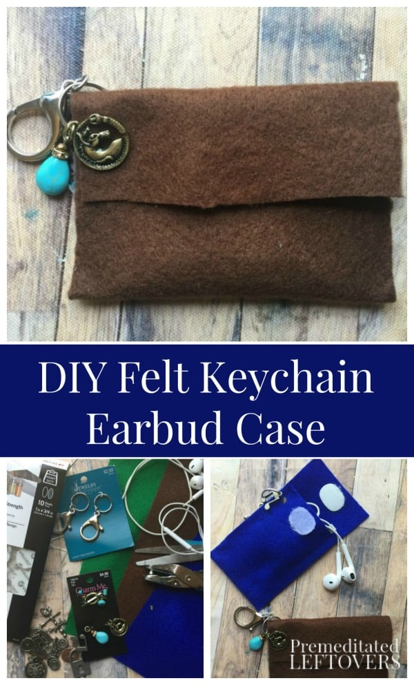 DIY Felt Keychain Earbud Case Tutorial - In just a few simple steps you can make this DIY Felt Keychain Earbud Case to gift or hang on your own key chain to keep them from tangling or getting lost.