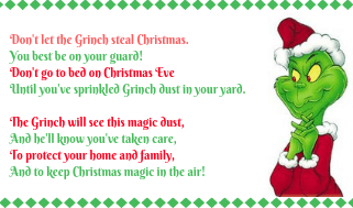 The printable gift tag with poem to use on bags of Grinch Dust.