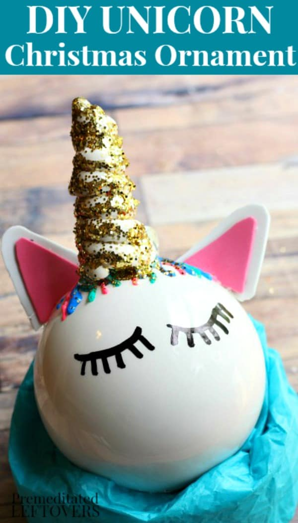 homemade unicorn ornaments using a clear Christmas ball ornament
