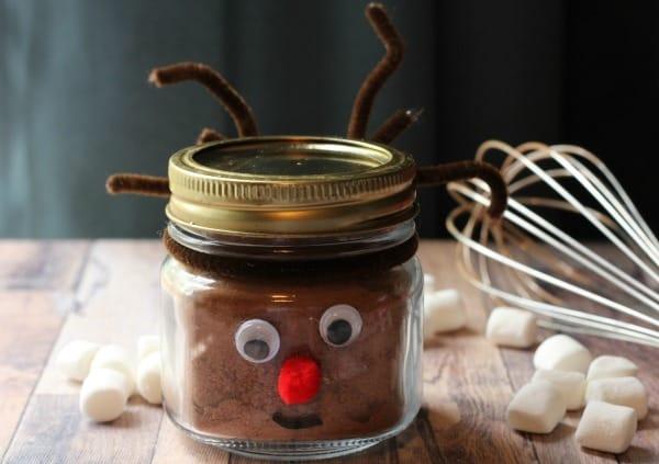 Homemade hot chocolate mix in Rudolph mason jar