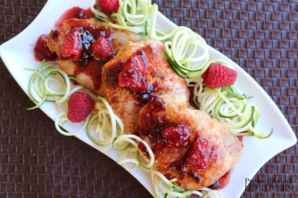 raspberry balsamic glaze over oven baked pork chops