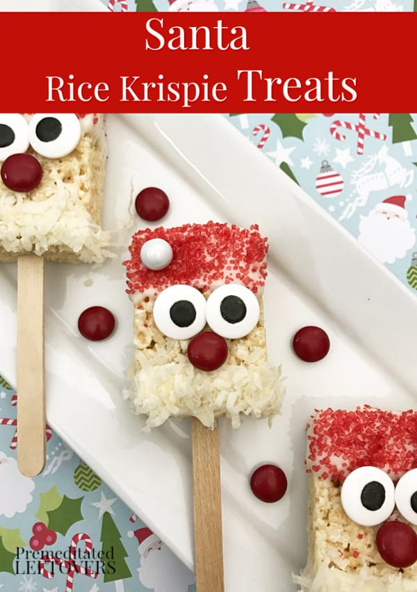 Our Jolly Santa Rice Krispie Treats are easy to make and come together quickly. Make them ahead of time for a Christmas party or let kids make their own!