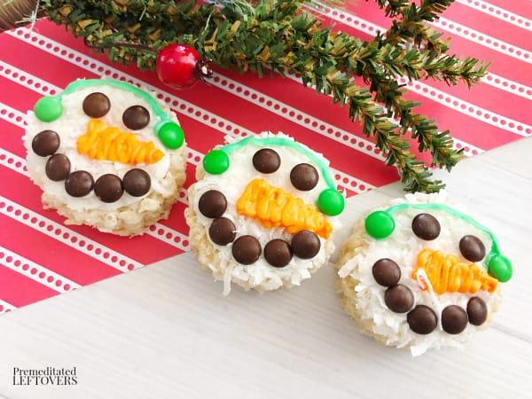 rice Krispie treat snowman