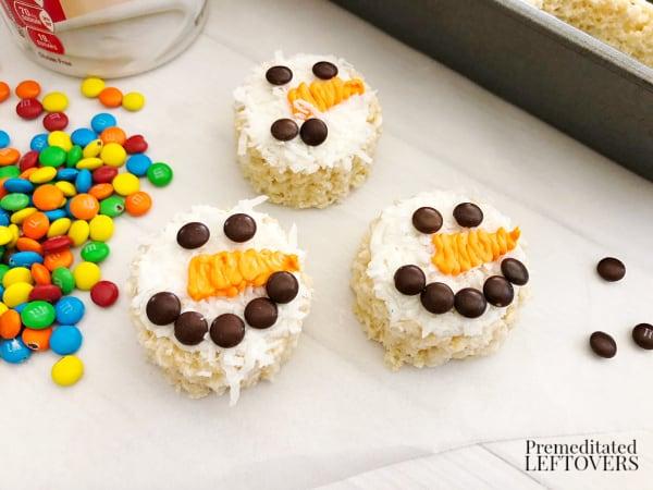 cute snowman christmas rice krispie treat