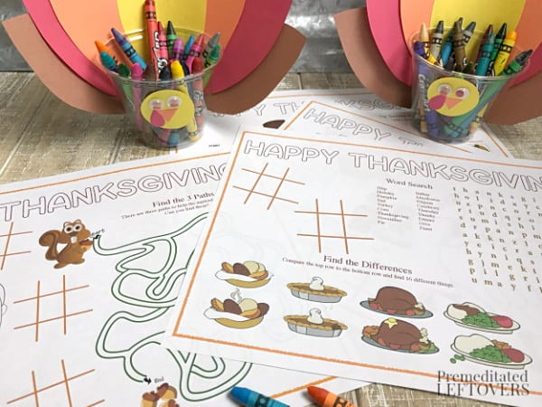 turkey crayon cups and coloring and activity placemats