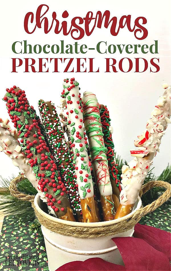 Christmas chocolate covered pretzel rods topped with red and green sprinkles and crushed candy canes.