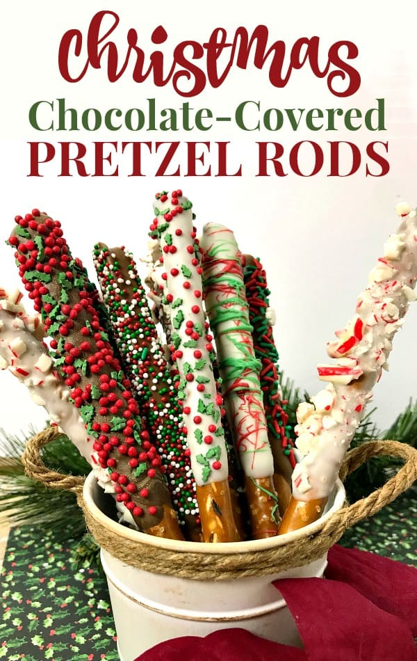 Christmas themed Chocolate Covered Pretzel Rods Recipe