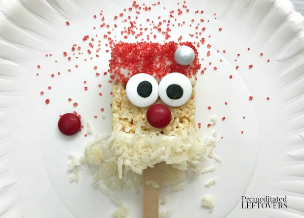 Completely assembled Santa Claus rice Krispie Treat
