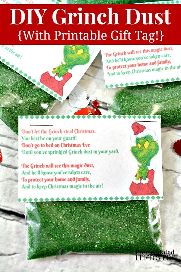 DIY Grinch Dust with Printable Gift Tag