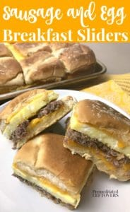 Easy sausage and egg breakfast sliders recipe.