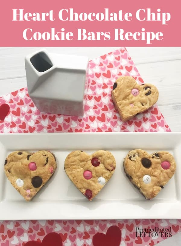 heart chocolate chip cookie bar recipe