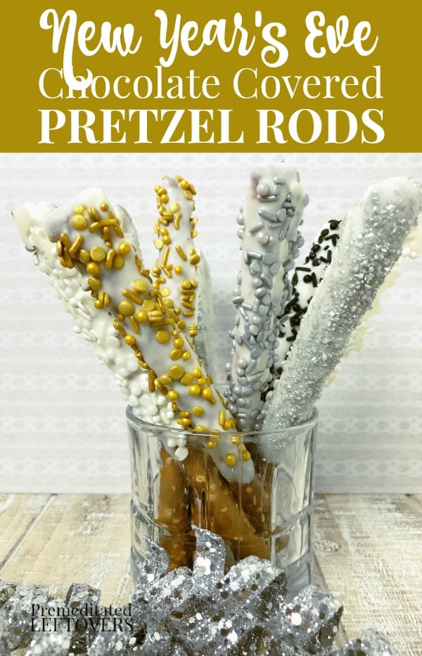 New Years White Chocolate dipped pretzel rods with silver and gold sprinkles