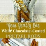 New Year's eve white chocolate coated pretzel rods recipe