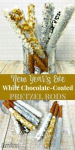New Year's eve white chocolate coated pretzel rods recipe