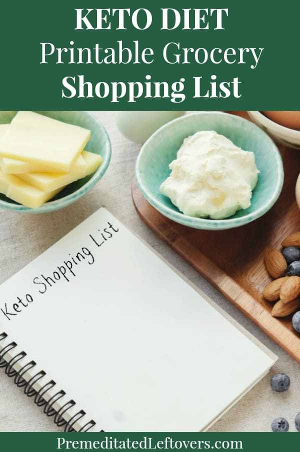 Printable Keto diet grocery shopping list