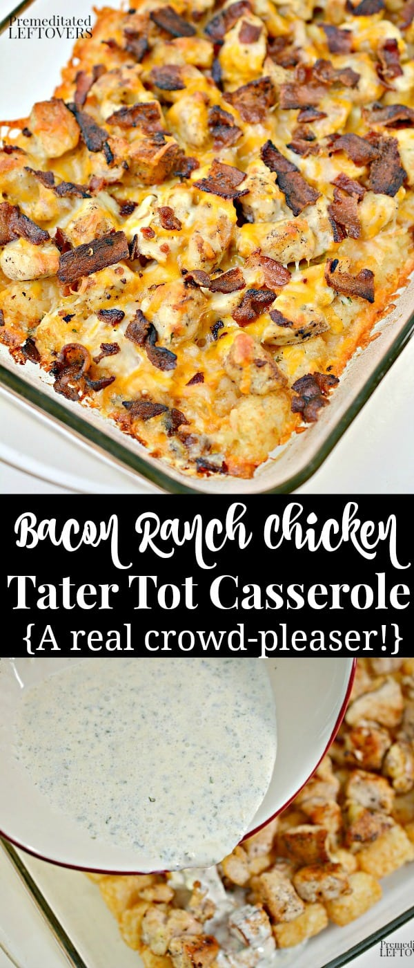 This Cheesy Bacon Ranch Chicken Tater Tot Casserole recipe is a family favorite!