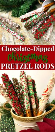 This chocolate dipped christmas pretzel rods recipe is easy to make!