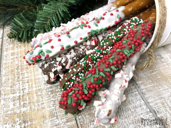 Christmas Pretzel Rods chocolate covered pretzels