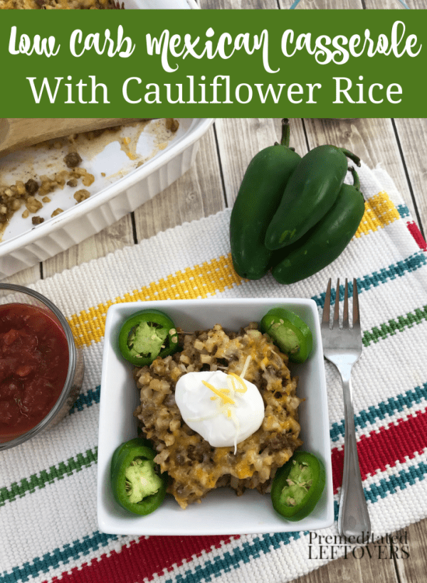 Low-carb Mexican casserole recipe with cauliflower rice topped with sour cream